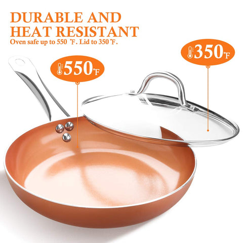 9.5 inch Copper Fry Pan with Lid, Nonstick Omelet Pans