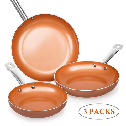 Shineuri Nonstick Copper Pan Set of 3,Frying Pan Set,Multi-purpose Pan