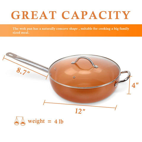 Shineuri 12 Inch Copper Pan Set,Skillet,Copper Pan With Lid-Set of Two