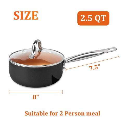 SHINEURI 2.5 Quart Nonstick Ceramic Copper Saucepan, Mini Sauce Pan with Lid & Stainless Steel Handle - Cooking for Soup, Stew, Sauce & Reheat Food, Compatible for Induction, Gas, Electric & Stovetops