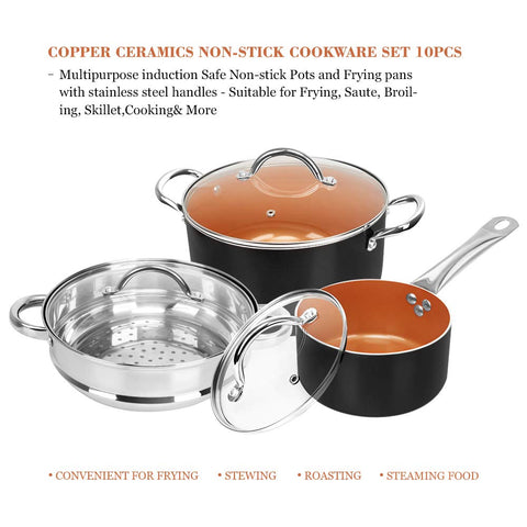 Shineuri 10-piece cookware set copper non-stick pots and pans set in black copper