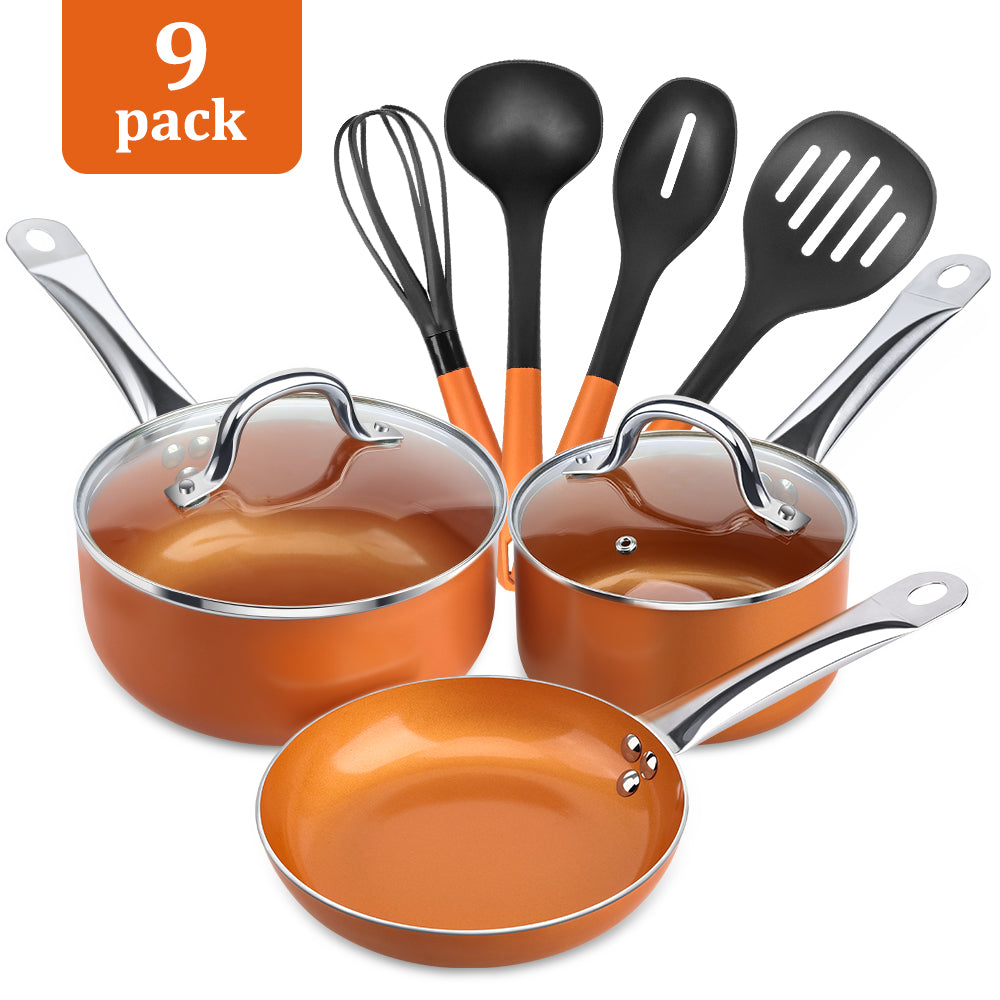 Shineuri 9-Pieces Pots and Pan Set, NonStick Ceramic Coated Copper Set Induction Compatible, Oven & Dishwasher Safe