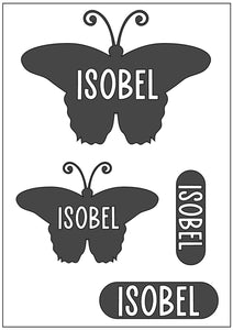 Waterproof Name Sticker Decals - Butterflies