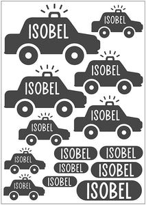 Waterproof Name Sticker Decals - Police Car