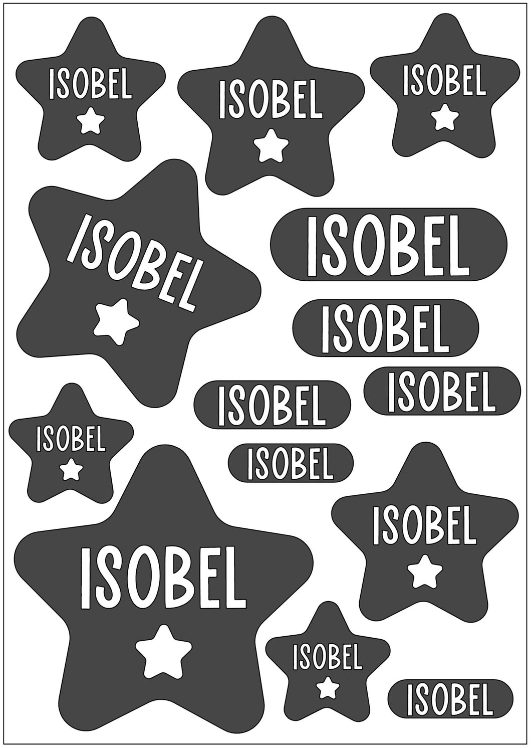 Waterproof Name Sticker Decals - Star