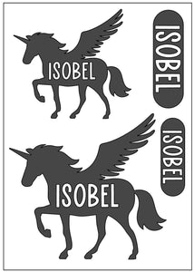 Waterproof Name Sticker Decals - Unicorn