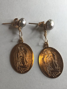 Pearl Holy Mother Drop Pendant Stud Earring