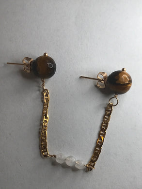 Tigers Eye Connector Chain Stud Earring