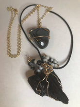 Load image into Gallery viewer, Tourmaline & Hematite Amulet