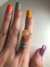 Load image into Gallery viewer, Carnelian and Emerald Dangle Ring