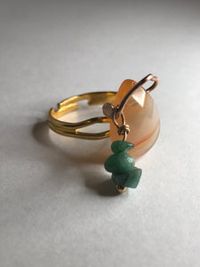 Carnelian and Emerald Dangle Ring