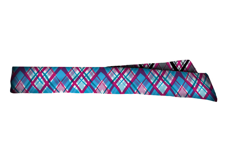 REVERSIBLE Wacky Plaids Black/Blue Head Tie (SKU 1264 HTB)