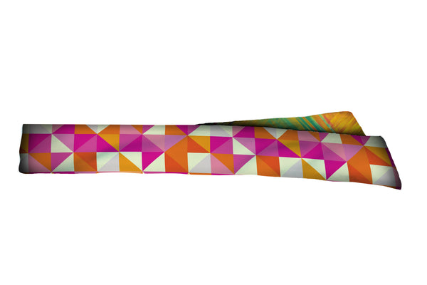 REVERSIBLE Triangles Orange Pink/Tropical Hash Head Tie (SKU 1361 HTB)