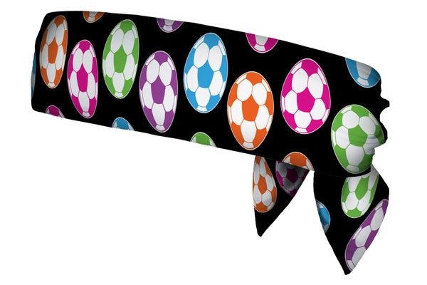 REVERSIBLE Soccerballs Neon/Black White Head Tie (SKU 1372 HTB)