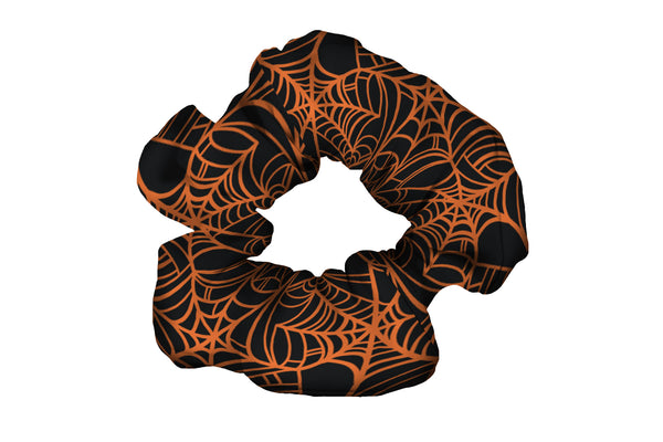 Spiderwebs Orange Scrunchy (SKU 1591 SCR)