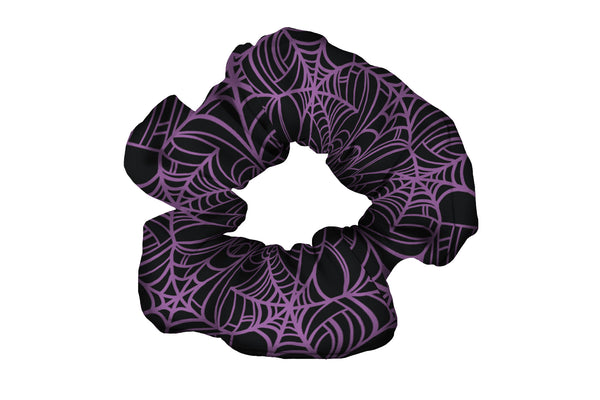 Spiderwebs Purple Scrunchy (SKU 1593 SCR)