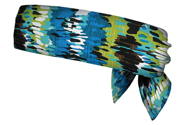 REVERSIBLE Blue Bayou/Broken Rectangles Head Tie (SKU 3039 HTB)