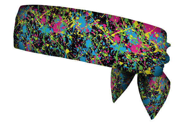 REVERSIBLE Paint Splatter Neon/Black White Head Tie (SKU 3107 HTB)
