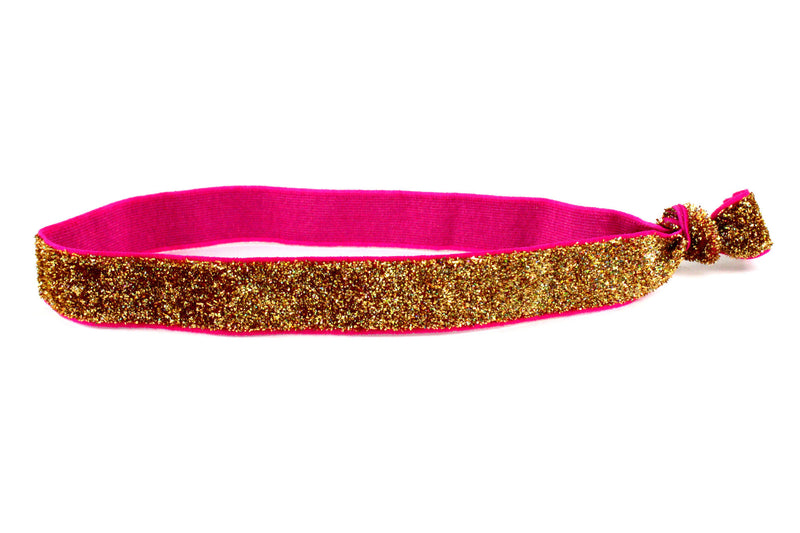 Glitter Metallic Gold Elastic Headband