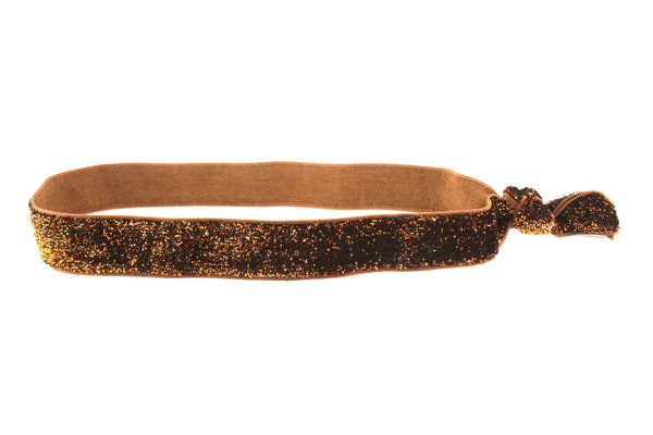 Glitter Gold Brown Elastic Headband