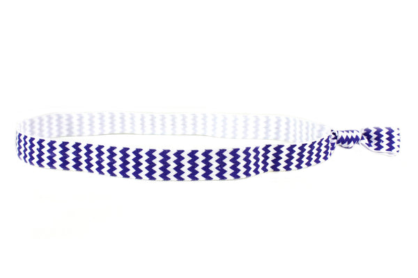 Chevron Royal Blue Elastic Headband