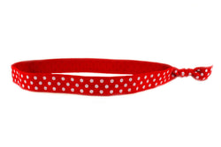 Polka Dots Red White Elastic Headband (SKU 6005 HB)