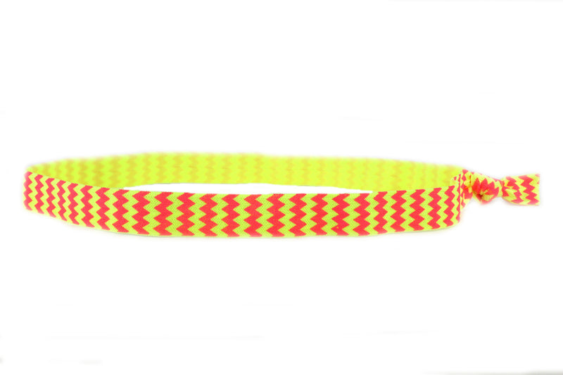 Chevron Hot Pink Yellow Elastic Headband