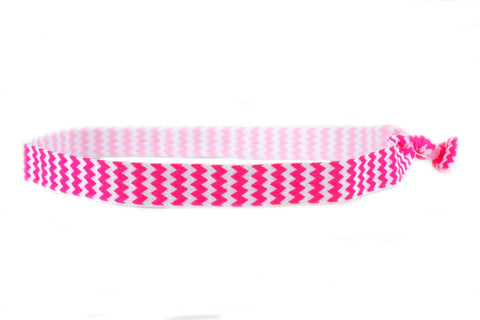 Chevron Hot Pink Elastic Headband