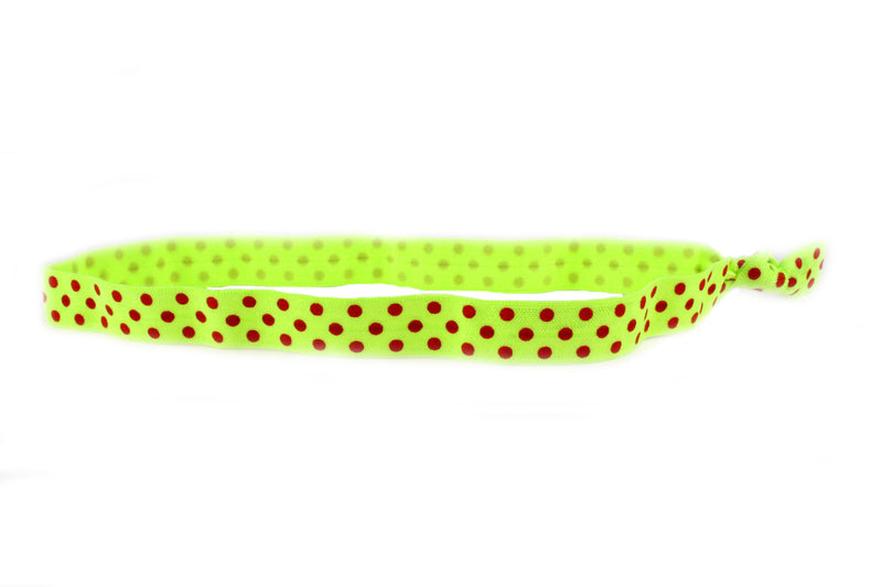 Polka Dots Lime Red Elastic Headband (SKU 6009 HB)