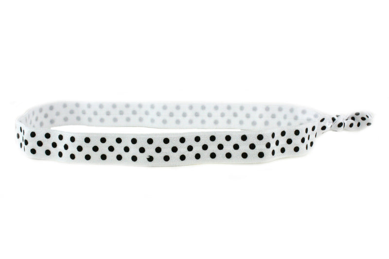 Polka Dots White Black Elastic Headband (SKU 6011 HB)