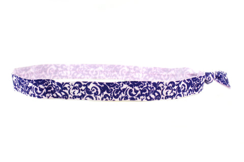 Floral Royal Blue Elastic Headband