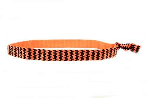 Chevron Black Orange Elastic Headband