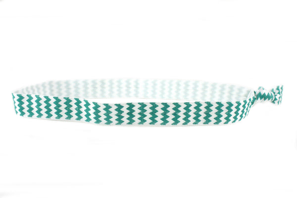 Chevron Teal Elastic Headband