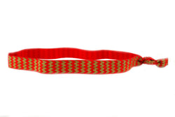 Chevron Red Gold Elastic Headband