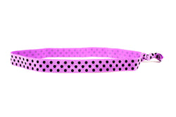 Polka Dots Purple Black Elastic Headband (SKU 6034 HB)