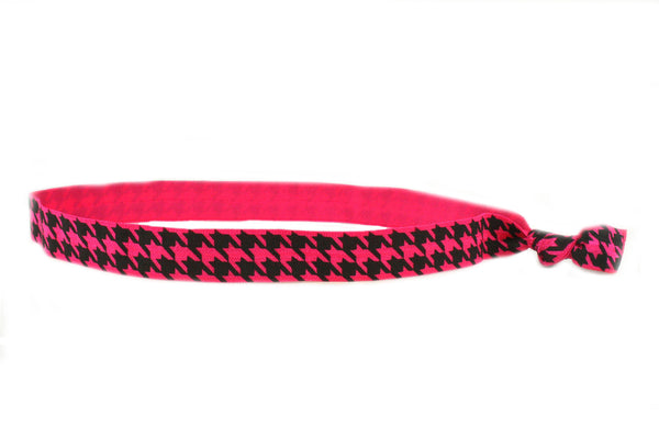 Houndstooth Hot Pink Elastic Headband (SKU 6036 HB)