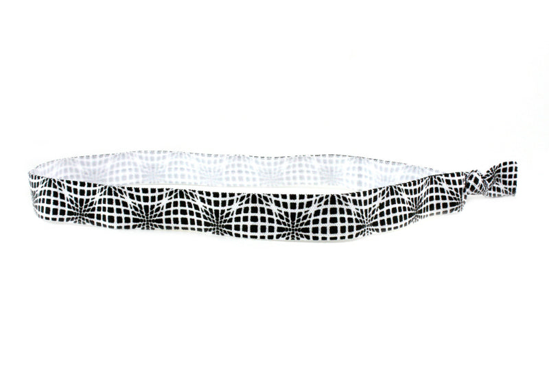 Techno Wave Black White Elastic Headband (SKU 6049 HB)