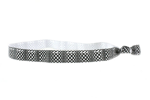 Checkers Black White Elastic Headband