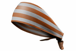 Tie Back Horizontal Stripes Texas Orange Grey (SKU 7506)