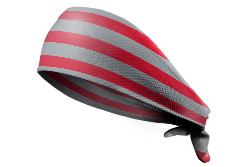 Tie Back Horizontal Stripes Scarlet Grey (SKU 7512)
