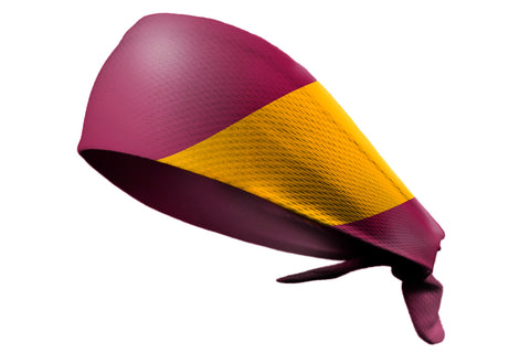 Tie Back Diagonal Stripe Maroon Gold (SKU 7536)