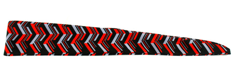 Tie Back Chevron Multi Vertical Scarlet Grey (SKU 7550)