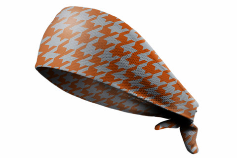 Tie Back Houndstooth Texas Orange Grey (SKU 7572)