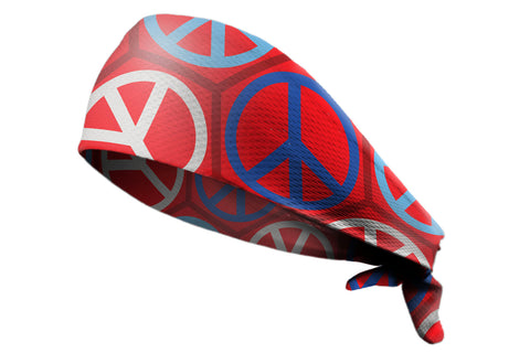 Tie Back Peace Geo Red White Blue (SKU 7597)