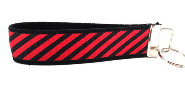 Diagonal Stripes Red Black Keychain (SKU 1244 KC)