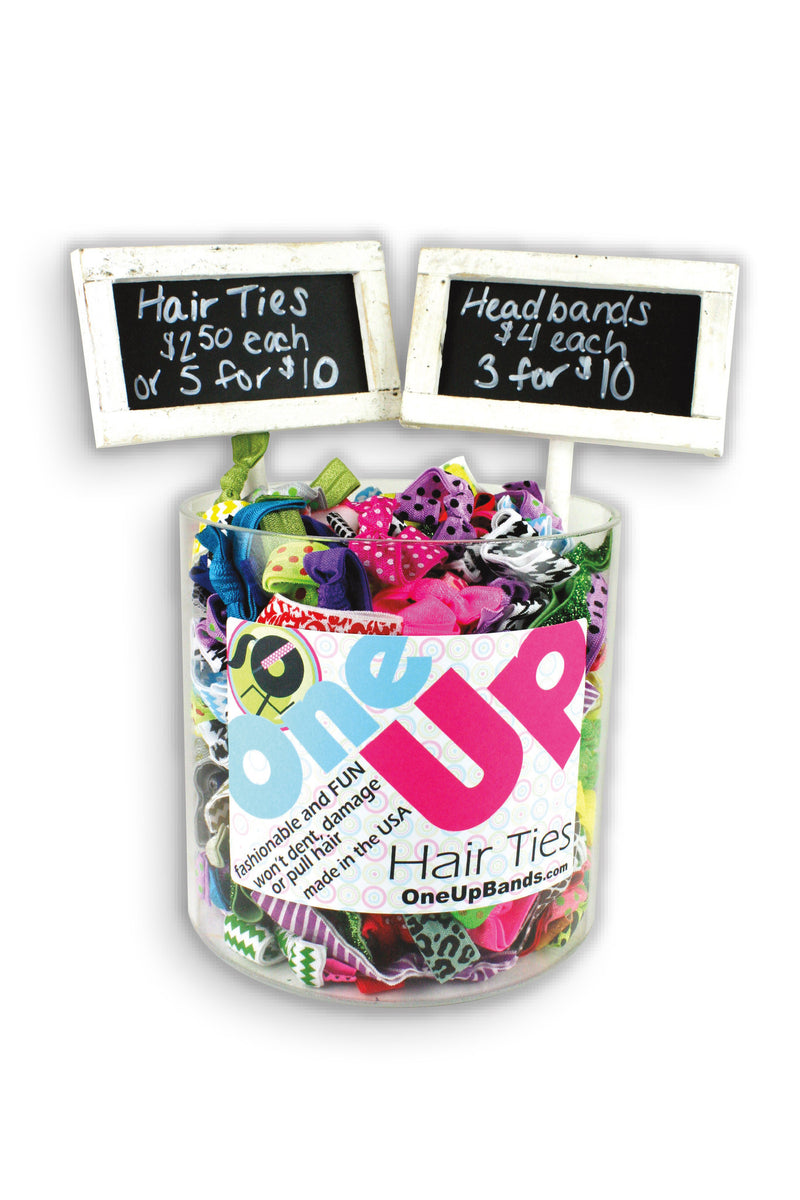 Hair Ties 6x6 Acrylic Vase + 2 Chalkboard Signs (SKU 7000)