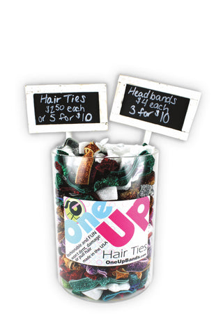 Hair Ties 6x8 Acrylic Vase + 2 Chalkboard Signs (SKU 7001)