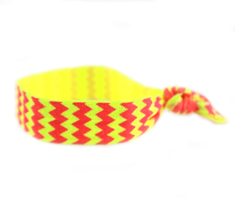 Chevron Hot Pink Yellow Hair Tie (SKU 6007)
