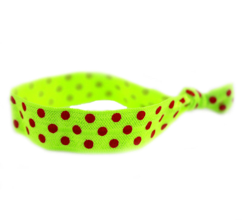 Polka Dots Lime Red Hair Tie (SKU 6009)