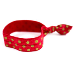 Polka Dots Maroon Gold Hair Tie (SKU 6012)